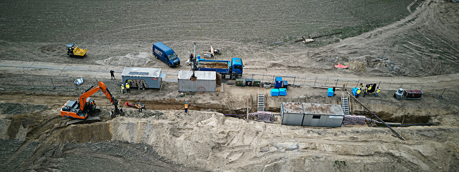 Aerial photo of cable installation site